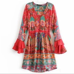 Baby Malva Lotus Boho 60s Floral Gypsy Print Dress